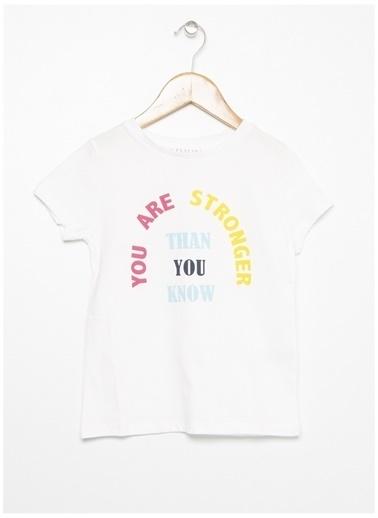 Limon Company Limon Ekru Kız Bisiklet Yaka Yazı Baskılı Çocuk T-Shirt Ekru